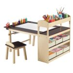 well organized art table for kid idea with black and beige combination and small bench and book shleves and pencil storage