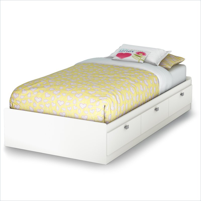 white ikea bed frame with 3 drawers and yellow bedding linen for teens room - White Ikea Bed Frame