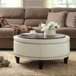 white leather round coffee tables with storage for awesome living room ideas combined with brown sofa and beige rug and flowers as centerpiece