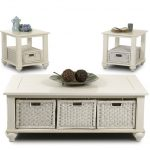 white painted wooden coffee table with white rattan box storage units at the bottom