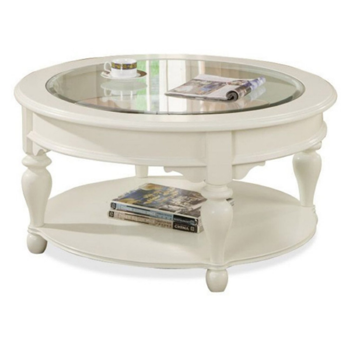 White Round Coffee Tables With Storage With Glass Top And Storage  Underneath For Storing Magazines And