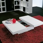 white table with under storage space luxurious red area rug