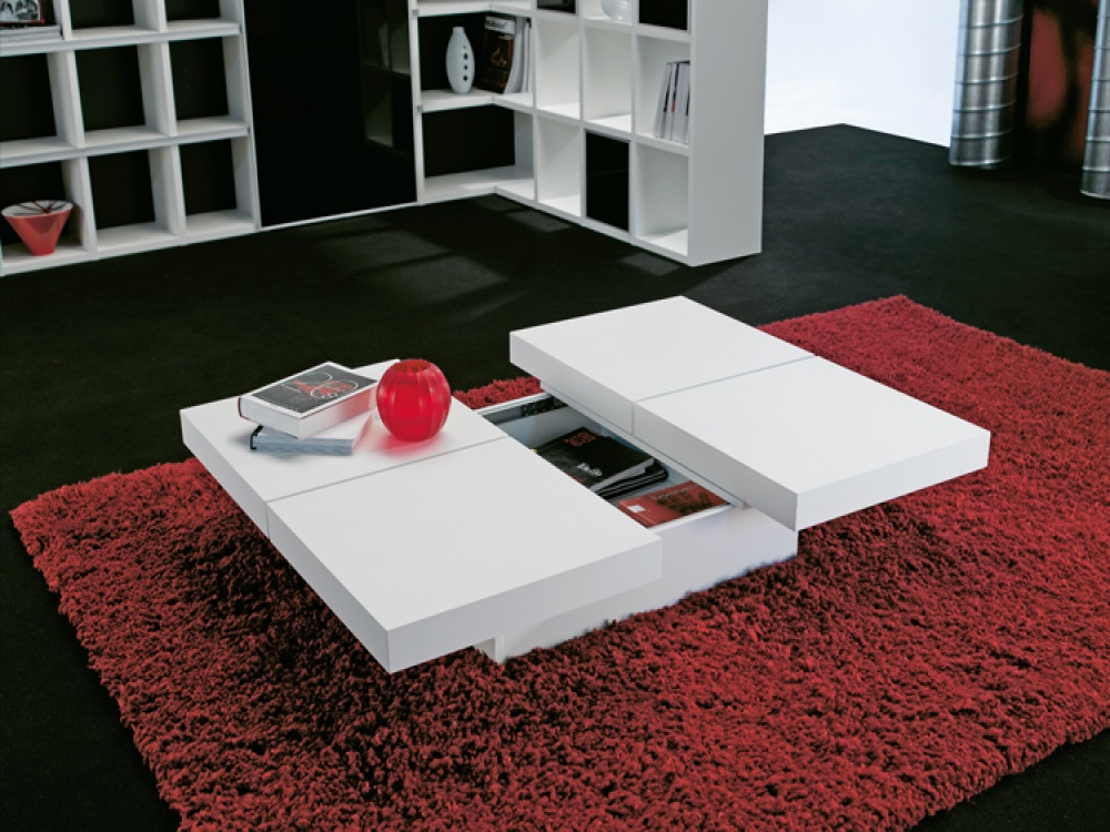 White Table With Under Storage Space Luxurious Red Area Rug · White Washed  Wooden Coffee ...