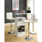 white-versatile-pub-table-set-by-wildon-home-featured-with-wine-rack-and-frosted-glass-top-surrounded-with-dark-grey-wall-and-wooden-floor