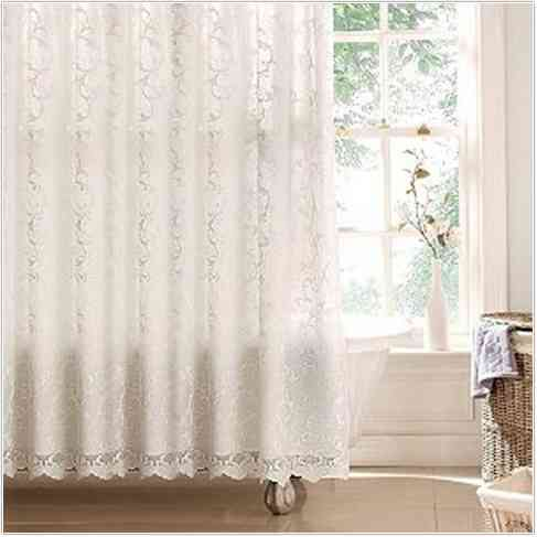 Charmant White Victorian Lace Shower Curtains Near White Windows