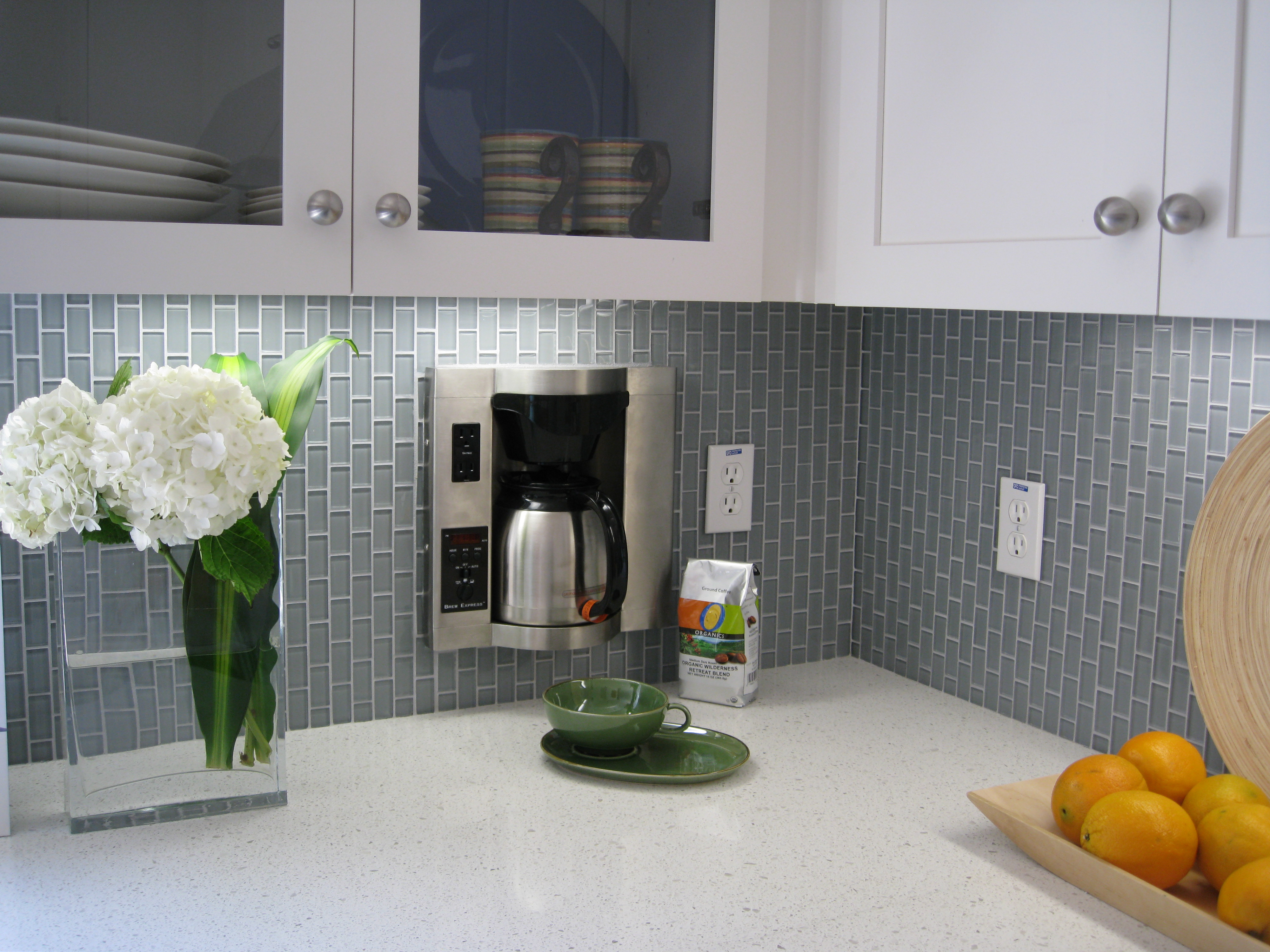Upgrade your monotonous subway tile into a colored subway tile wonderful and modern kitchen ideas with small grey colored subway tile in vertical brick pattern dailygadgetfo Images