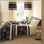 wonderful creamy bedroom design with black accent and home garden curtain design with white wall and floor lamp
