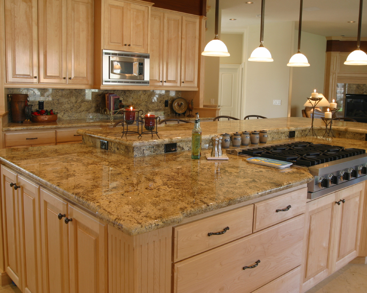 Kitchen with River Gold Granite - Luxurious Accent - HomesFeed