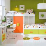 wonderful orange green and white pics of bunk bed idea with polka dot pattern and white desk and adorable round rugs with colorful idea and open concept