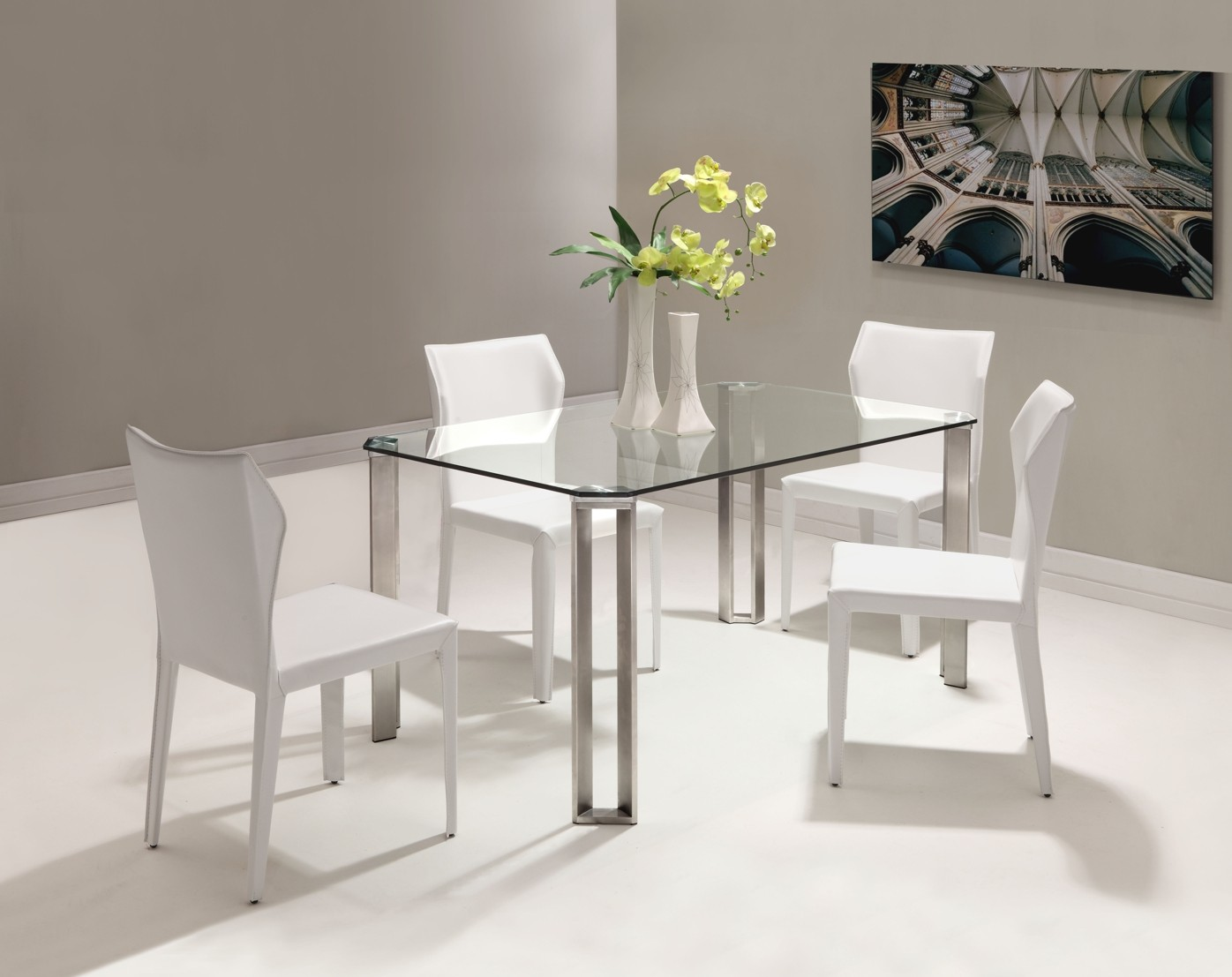 The Small Rectangular Dining Table That is Perfect for  : wonderful small rectangular dining table glass top with four white chairs and striking table centerpiece plus white flooring and picture on wall decoration from homesfeed.com size 1396 x 1107 jpeg 150kB