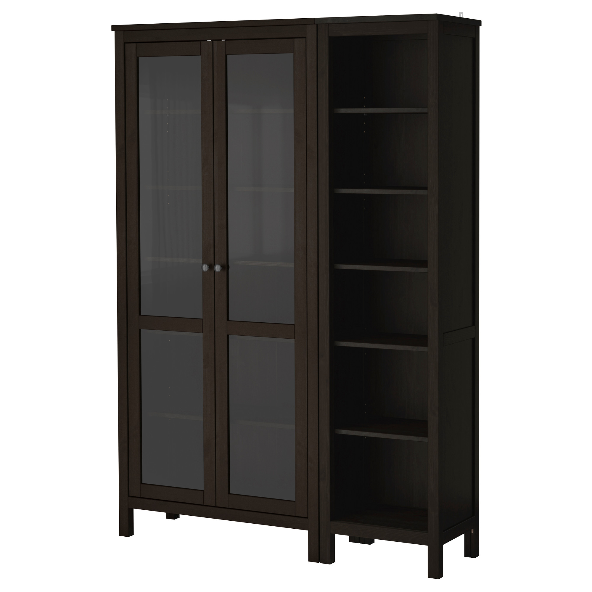 Merveilleux Wooden Storage Cabinet With Glass Doors In Dark Finishing Plus Modern  Design Combined With Shelves Aside