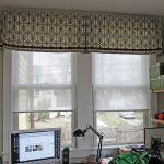 3 contemporary window valances for home office with attractive pattern combined with shades decorated on double hung windows