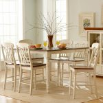 7 pieces oxford creek furniture for shabby chic dining room with a rectangular dining table in white plus wooden dining chairs and beige rug plus beautiful centerpieces