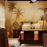 A bedroom with safari theme decor idea queen sized bed frame with headboard and footboard wooden bedside table with drawers an armchair with zebra toned color cushion a ceiling fan