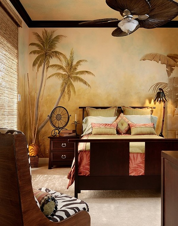 A bedroom with safari theme decor idea queen sized bed frame with headboard  and footboard wooden. Jungle Theme Bed