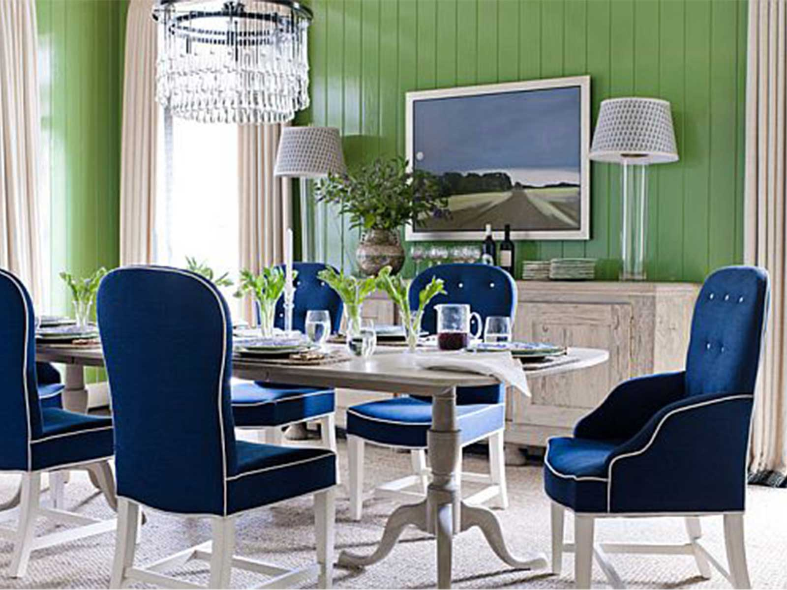 Upholstered Chairs Dining Room download upholstered dining room set gen4congresscom Amazing Dining Room With Blue Upholstered Chairs Long Table White Chandelier Cabinet Standing Lamp In Green