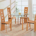Attractive Simple Minimalist Dining Set With Round Glass Table