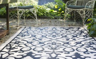 Awesome Cream Black Indoor Outdoor Carpet With Outdoor Chairs