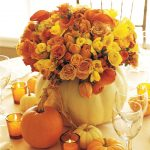 Awesome Flower Candles And Pumpkins Of Fall Center Pieces On Dining Table