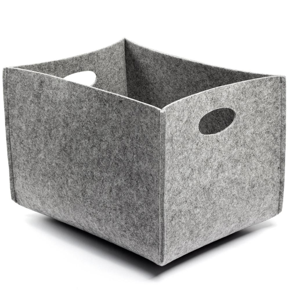 Awesome Grey Felt Storage Bin With Holes Holder