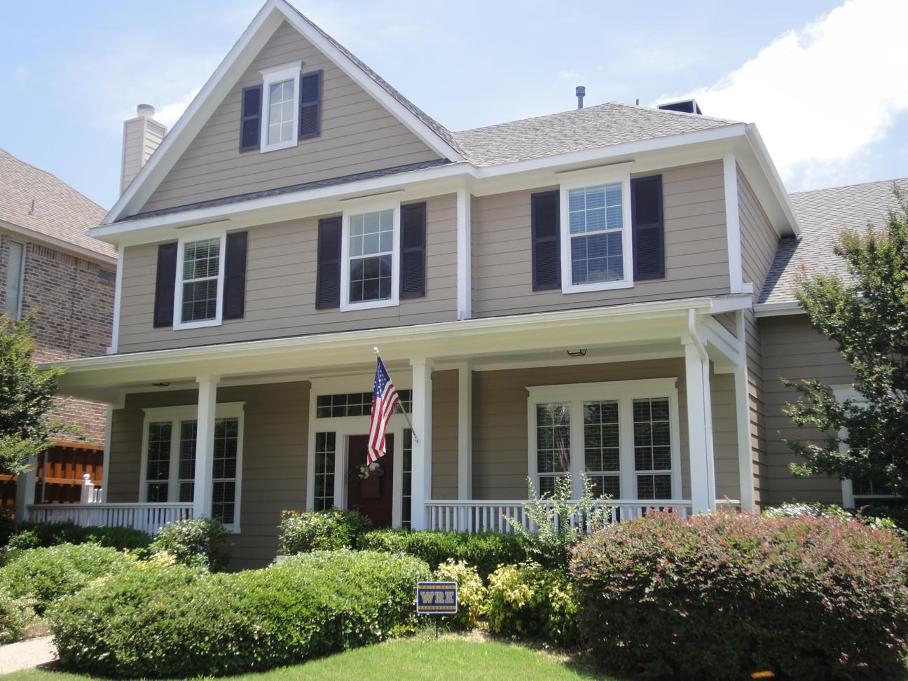 Awesome Paint Color For House Exterior With Many Windows And Green Front Garden