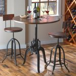 Awesome Round Industrial Pub Table Double Chairs Near Wine Storage Place