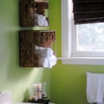 Awesome Wall Box On Green Wall Of Bathroom Storage For Towel