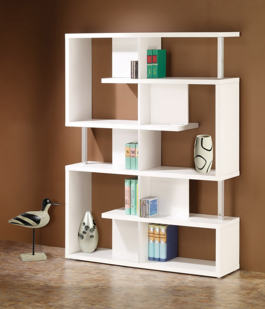 Awesome Wall Standing Shelves For Books With White Color And Creative Design