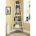 Awesome White Corner Leaning Ladder Bookshelf Near Wndow And Round Fur Rug