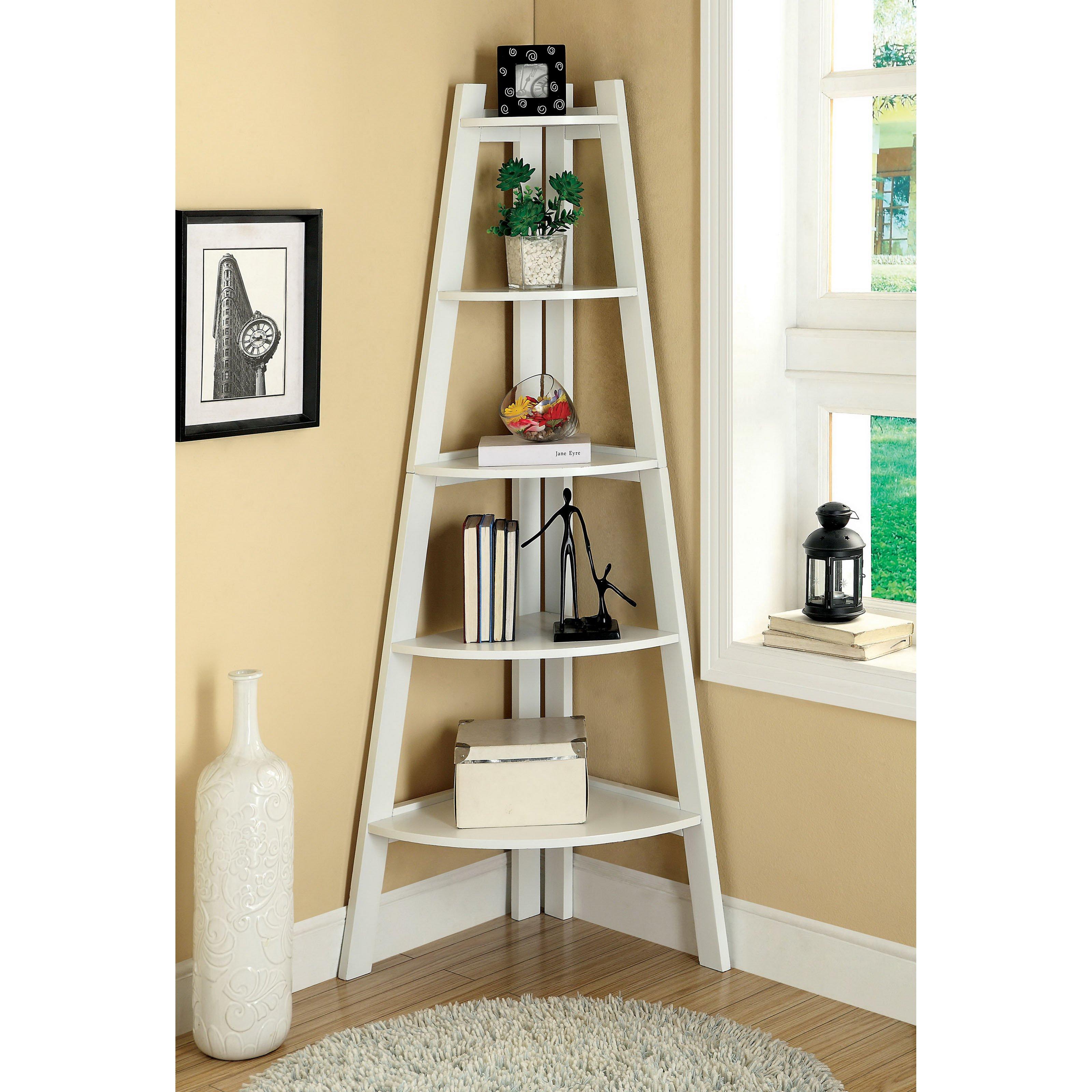 Awesome White Corner Leaning Ladder Bookshelf Near Wndow And Round Fur Rug