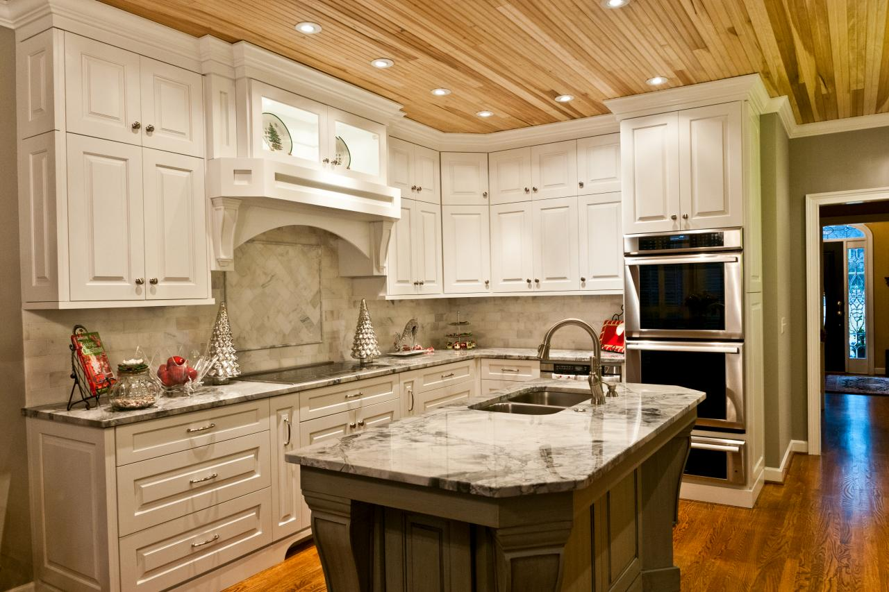 Small Kitchen Redesign Wood Ceiling Planks Design Homesfeed