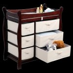 Badger-Basket-Baby-Changing-Table-with-dark-cherry-finish-and-canvas-wood-and-metal-materials-also-polyester-and-cotton-textile-materials