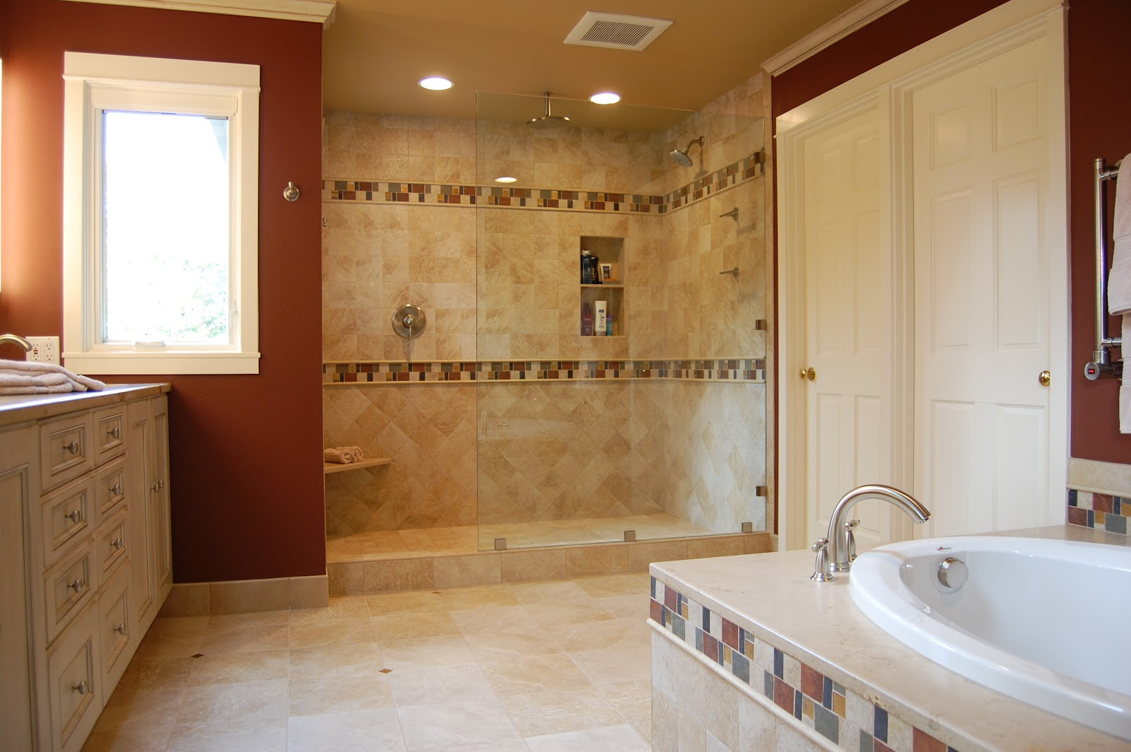 bathroom remodel ideas with cool wall color white cabinet and big shower - Bathroom Remodel Designs