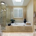 Bathroom Remodel Ideas With Beauty Door Glass And Round Tub