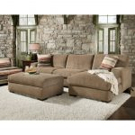 Best 2 Piece Sectional Sofa With Chaise Color With Striped Decorative Pillows On White Fur Rug