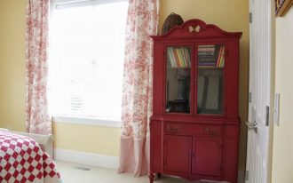 Best Red Toile Curtains Near Book Hutch In Bedroom