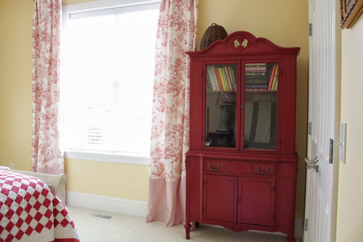 Superb Best Red Toile Curtains Near Book Hutch In Bedroom