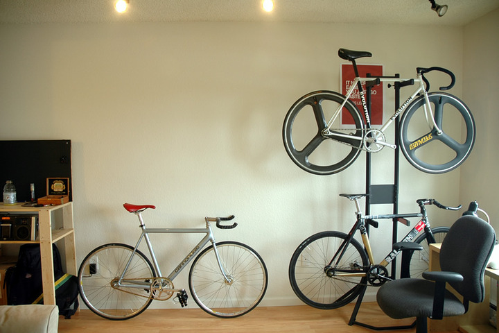 Bike rack for apartment perfect solution to hang your bike in stylish but free space use - Small space bike storage decoration ...