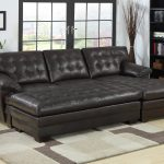 Black 2 Piece Sectional Sofa With Chaise And Fur Rug