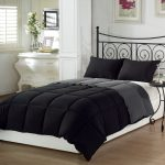 Black And Grey King Size Bedding Color With Whte Bed Frame And Cabinet
