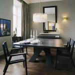 Black Wooden Minimalist Dining Set With Luxury Crystal Chandelier