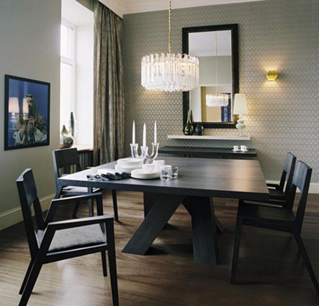 Superb Black Wooden Minimalist Dining Set With Luxury Crystal Chandelier Pictures Gallery