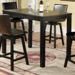 Black elegant rectangular pub table in black black leather bar chairs