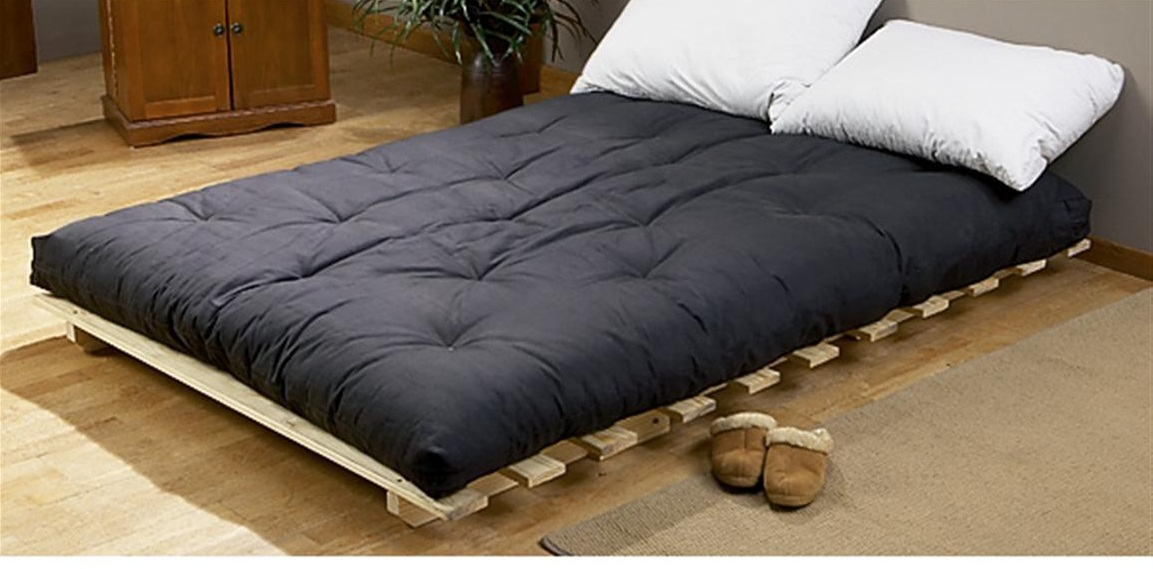 Black Futon Mattress With White Pillows Low Profile Platform Bed Frame Idea