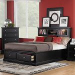 Black Painted Wood Bed Frame With Bookcase Headboard And Under Drawers