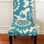 Blue And White Flower Theme Of White Parson Chair Slipcovers