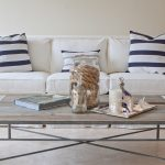 Blue White Striped Pillows On White Slipcovered Sofa Wth Rectangular Main Table