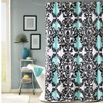 Blue fabric shower curtain with black colored classic motif round chrome shower curtain rod with ring clips white tub small side table with under shelves