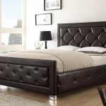 Brown Cal King Headboard Bed With White Mattress Pillows And Fur Rg