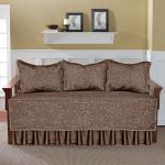 Brown Decorative Style Of Day Bed Covers With Triple Pillows